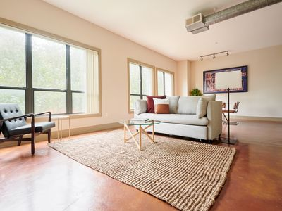 Photo for Sonder | Ballpark Lofts | Airy 1BR + Theater Room