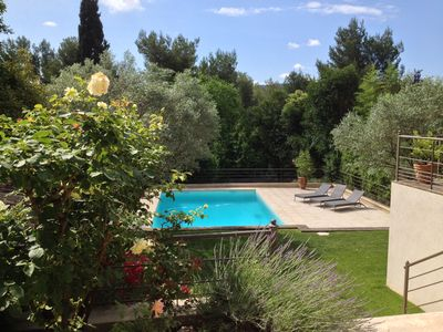 Photo for Aix en Provence house south facing, shaded garden, swimming pool, view, very quiet