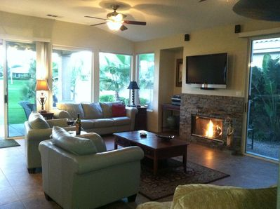 living room with view to golf course, fairway & mountains