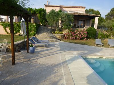 Pool Terrace and steps to house