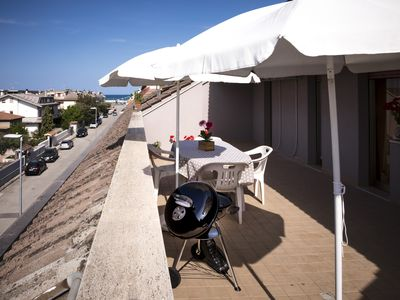 Photo for 100 meters from the sea with great sea view terrace, pets allowed