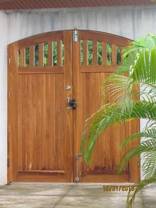 Handcrafted, covered main gate to our Casa