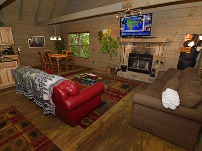 Photo for 1 Bedroom / 2 Bath Log Cabin, Hot Tub, Pool Table, Covered Deck