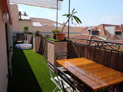 Photo for 1mn to the sea Stylish Oldtown flat with large terrasse to sun bath