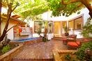 Private Courtyard & sculpture garden with waterfalls & fruit trees