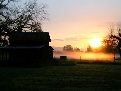 Watch the sunrise over the rolling hills- a beautiful day in the Wine Country.