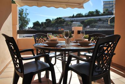 Dining al fresco and looking to the Mediterranean Sea