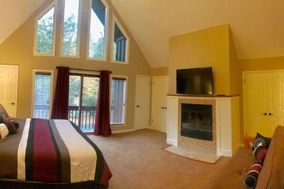 Master Suite Bedroom 1, 1 King bed and futon (full size), fireplace and balcony