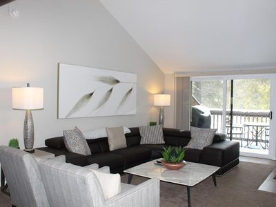 Photo for Get away in this updated trendy condo with golf course views and A/C!