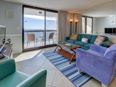 Photo for Beach-chic 18th floor condo with gulf-front views! Free Wi-Fi! Indoor and outdoor pool on-site!