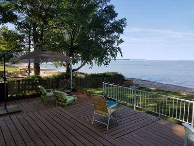 Photo for Lakefront cottage with private beach on lake Huron