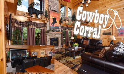 Photo for NEW!! COWBOY THEMED CABIN 12 min. from PF Parkway, Sleeps 22!  HOME THEATER!