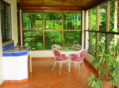 Beautiful Enclosed Veranda to enjoy the Lake and Forest Views