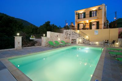 VIEW OF THE PRIVATE POOL AT THE EVENING