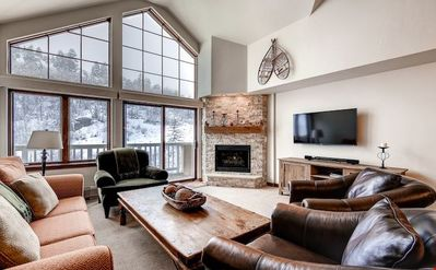 Kick back your feet and relax in the cozy living area.