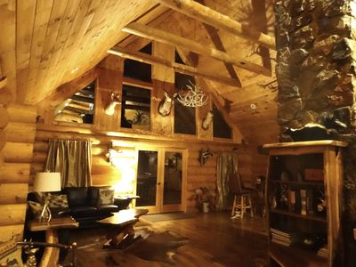 Photo for Full Log Cabin,11 wooded acres near Franklin NC. Sleeps 16 in Beds. Waterfalls.