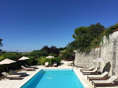 Photo for Large farmhouse with pool in Bouteilles St Sebastien, Verteillac, Dordogne