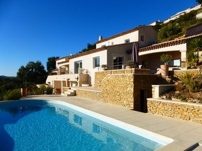 Photo for Villa 10 people with heated pool and sea view