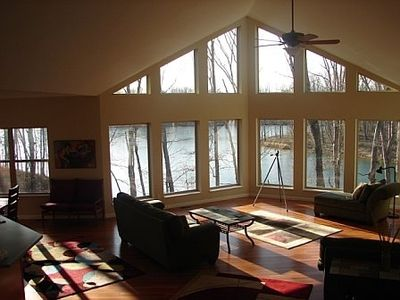 Great Room Overlooking Lake--30 ft ceiling