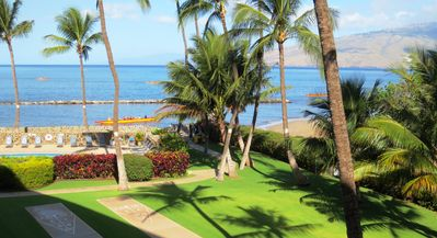 Morning scene of outrigger canoes from our lanai