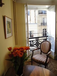 A corner of the living room in the Marais in morning sun.