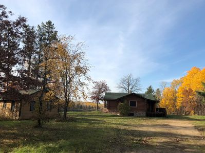 As you come to the end of the driveway you will see our log home & guest cabin.