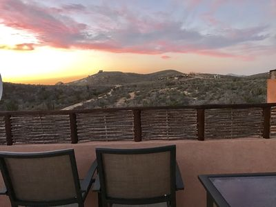 Sunset views over the desert from the rooftop deck.