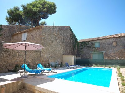 Photo for 1860s Stone Villa House With Big Private Heated Pool in French Village Centre