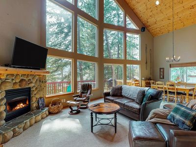 Photo for Dog-friendly, spacious cabin w/ lake view, hot tub, deck & firepit!