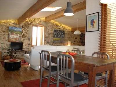 Photo for Funky spacious open plan roof-top apartment in the heart of Old Collioure