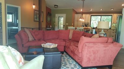 The large sectional provides a comfortable place for family & friends to gather.