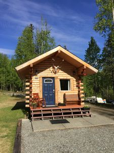 "Photo for Private Log ""Tiny"" Home- Cozy amenities, beautiful Alaskan craftsmanship & charm"