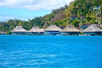 Brando's Bora Bora Bungalow is the first bungalow on the right.