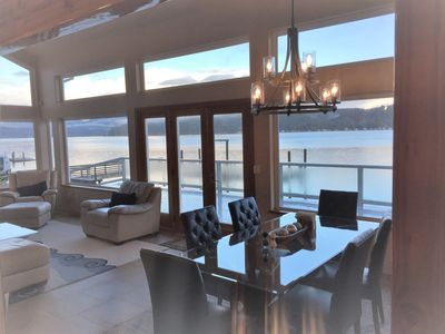 Dining and living room overlooking the water