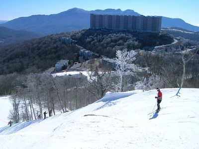 Beautiful view from the snowy ski slopes