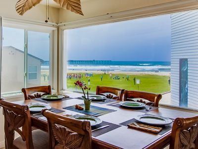 View of beach from dining table