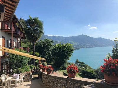 Photo for Two-room apartment in Residence with Pool and panoramic lake view in Sale Marasino