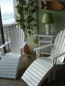 Relax in the adirondack chairs and feel the ocean breezes.
