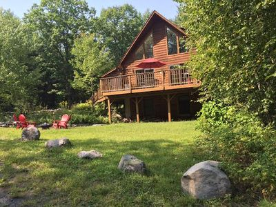 Photo for Light-Filled Log Home, 4 Wooded Acres, Lake Access & Hot Tub