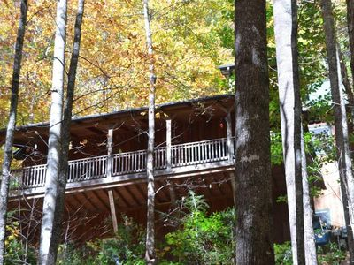 Photo for Cardinals on the Creek  is a lovely 3 bedroom/3bath home nestled in the woods, hot tub, WiFi, creek view.
