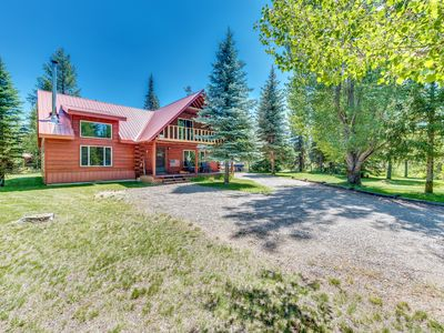 Photo for Dog-friendly (two max) home w/ a large deck & private hot tub - near the lake!
