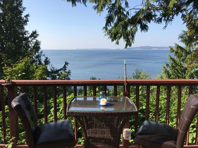 Photo for Ocean view cottage with private hot tub, fireplace, full kitchen, private deck