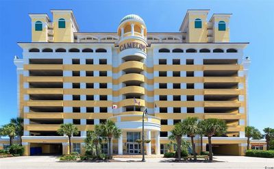 Street View of the Camelot by the Sea Resort. covered parking garage 10 stories
