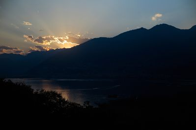 Sunset over Lago Maggiore during summer