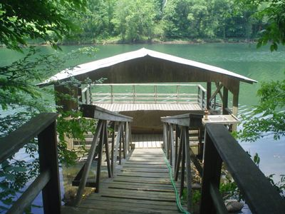 Custom deck with partial roof and lights for late night or early morning fishing