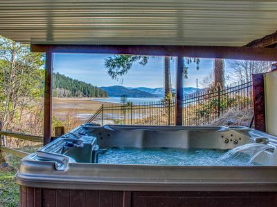 Photo for Fantastic lakefront home w/ private hot tub, dock, firepit & fireplaces!