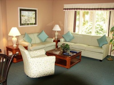 Living room with large window overlooking the large lagoon