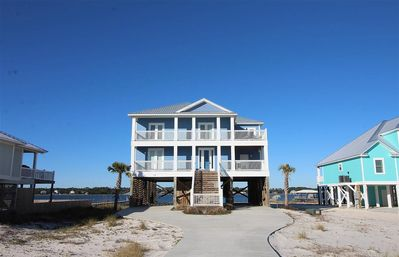 Photo for Spacious waterfront home w/ beach access, private lagoon beach, & private pool