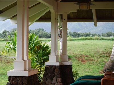 Lanai outside your private cottage with views
