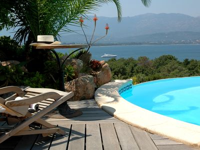 Photo for Renting mini-villa with pool, bordering the sea, magnificent panoramic view